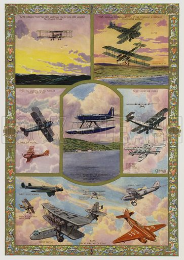 Progress of aviation during the 25 years of the reign of King George V, 1910–1935. Illustration from The Illustrated London News, Silver Jubilee Record Number, King George V and Queen Mary, 1935.