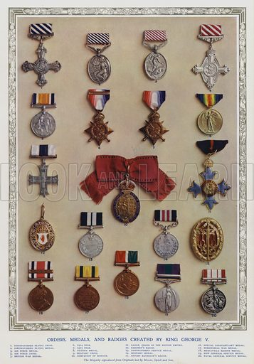 Orders, medals and badges created by King George V. Illustration from The Illustrated London News, Silver Jubilee Record Number, King George V and Queen Mary, 1935.