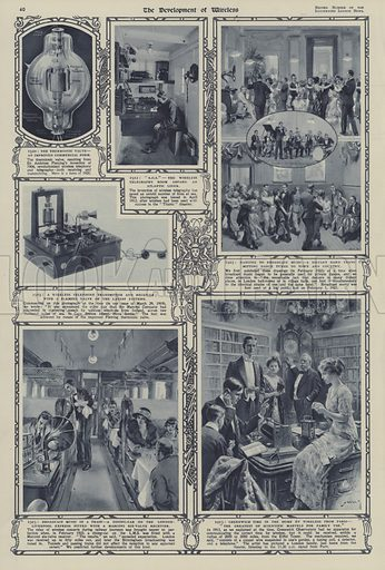The development of wireless during the reign of King George V. Illustration from The Illustrated London News, Silver Jubilee Record Number, King George V and Queen Mary, 1935.