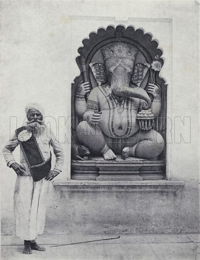 Statue of the Hindu god Ganesha, remover of obstacles, India. Illustration for India, Land of the Black Pagoda by Lowell Thomas (Hutchinson, 1931). Photographs by H A Chase and the author.