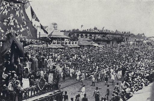 Procession of the car of Jagannath (Juggernaut), Hindu festival, Puri, India. Illustration for India, Land of the Black Pagoda by Lowell Thomas (Hutchinson, 1931). Photographs by HA Chase and the author.