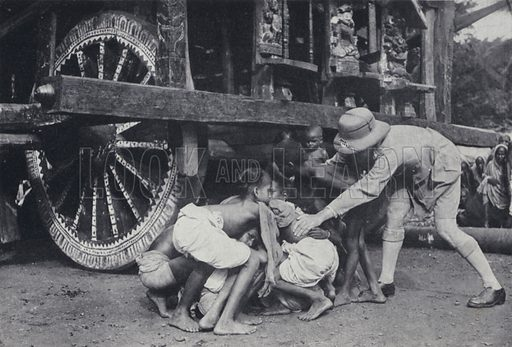Hindu attempting to get themselves crushed under the wheels of the car of Jagannath (Juggernaut) in the belief they will go to paradise, Puri, India. Illustration for India, Land of the Black Pagoda by Lowell Thomas (Hutchinson, 1931). Photographs by HA Chase and the author.