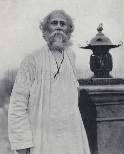 Rabindranath Tagore (1861-1941), Indian poet, composer and philosopher of Bengal. Illustration for India, Land of the Black Pagoda by Lowell Thomas (Hutchinson, 1931). Photographs by H A Chase and the author.