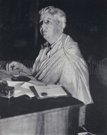Annie Besant (1847-1933), British socialist, women's rights activist, and campaigner for Irish and Indian independence. Illustration for India, Land of the Black Pagoda by Lowell Thomas (Hutchinson, 1931). Photographs by H A Chase and the author.