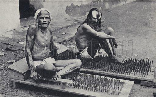 Hindu ascetics with beds of nails, India