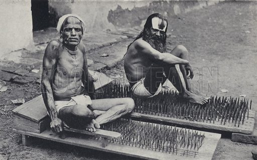 Hindu ascetics with beds of nails, India. Illustration for India, Land of the Black Pagoda by Lowell Thomas (Hutchinson, 1931). Photographs by HA Chase and the author.