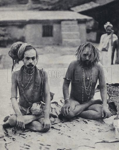 Sadhus, Hindu ascetics, India. Illustration for India, Land of the Black Pagoda by Lowell Thomas (Hutchinson, 1931). Photographs by HA Chase and the author.