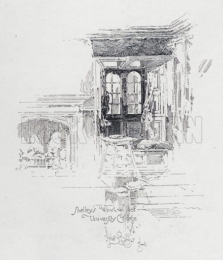 English poet Percy Bysshe Shelley's window seat at University College, Oxford. Illustration from Literary Landmarks of Oxford, by Laurence Hutton (Charles Scribner's Sons, New York, 1903).