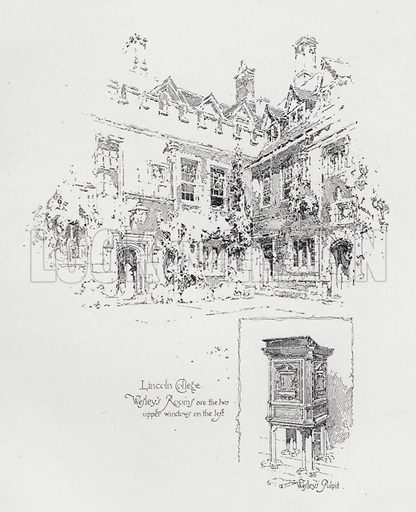 Pulpit used by English Methodist preacher John Wesley's and his rooms at Lincoln College, Oxford. Illustration from Literary Landmarks of Oxford, by Laurence Hutton (Charles Scribner's Sons, New York, 1903).