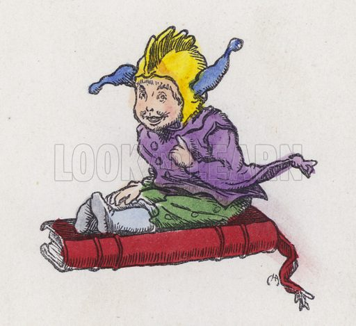 Figure sitting on a book and wearing a jester's hat. Illustration from Nursery Nonsense; or, Rhymes without Reason, by D'Arcy W Thompson (Griffith and Farran, London, 1865).