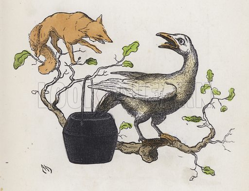 Fox and a goose with its tail in a pot of glue. Illustration from Nursery Nonsense; or, Rhymes without Reason, by D'Arcy W Thompson (Griffith and Farran, London, 1865).