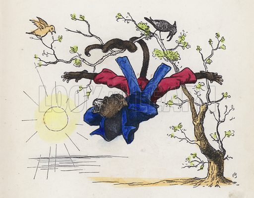 Monkey hanging from a tree by his tail. Illustration from Nursery Nonsense; or, Rhymes without Reason, by D'Arcy W Thompson (Griffith and Farran, London, 1865).