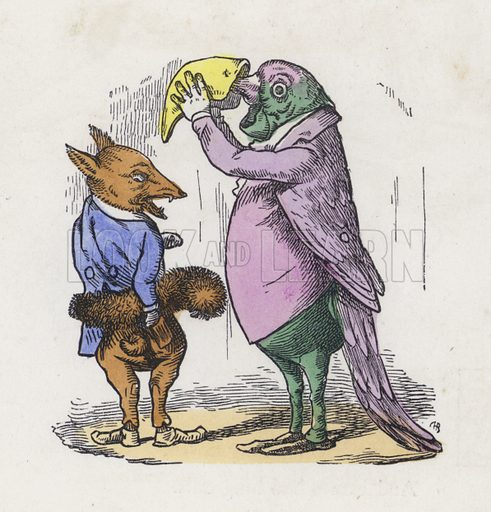Fox using its tail for a muff and parrot taking snuff. Illustration from Nursery Nonsense; or, Rhymes without Reason, by D'Arcy W Thompson (Griffith and Farran, London, 1865).