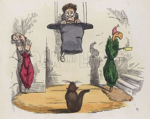 Man hanging from the ceiling in his hat because he is afraid of a cat. Illustration from Nursery Nonsense; or, Rhymes without Reason, by D'Arcy W Thompson (Griffith and Farran, London, 1865).