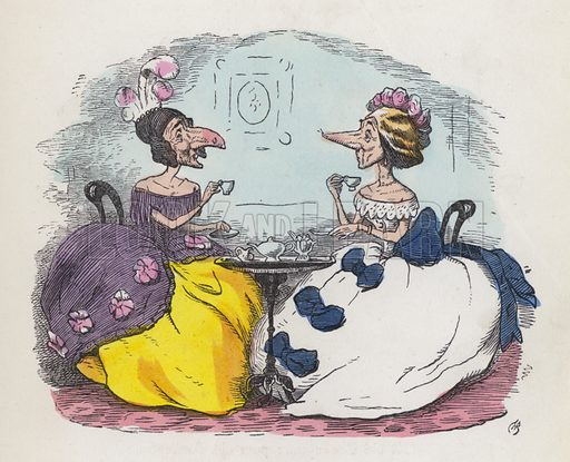Two women with big noses drinking tea. Illustration from Nursery Nonsense; or, Rhymes without Reason, by D'Arcy W Thompson (Griffith and Farran, London, 1865).