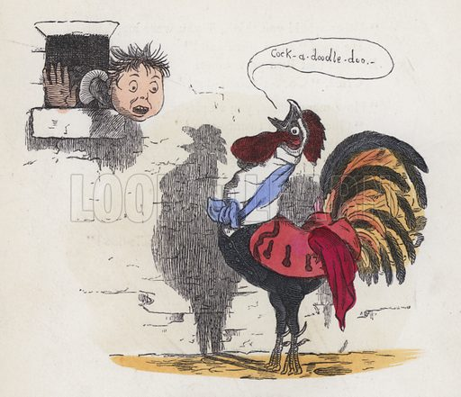 Boy woken up by a cock crowing. Illustration from Nursery Nonsense; or, Rhymes without Reason, by D'Arcy W Thompson (Griffith and Farran, London, 1865).