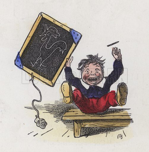 Boy with a picture of a cockerel drawn on a blackboard. Illustration from Nursery Nonsense; or, Rhymes without Reason, by D'Arcy W Thompson (Griffith and Farran, London, 1865).
