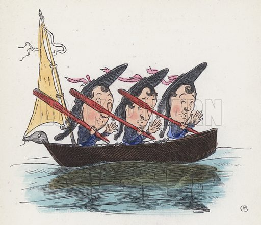 Three sailors in a boat. Illustration from Nursery Nonsense; or, Rhymes without Reason, by D'Arcy W Thompson (Griffith and Farran, London, 1865).