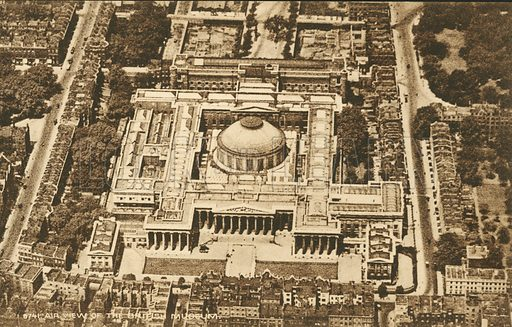 Aerial view of the British Museum, London. Postcard, early 20th century.