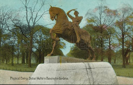 Physical Energy, statue by George Frederic Watts in Kensington Gardens, London. Postcard, early 20th century.