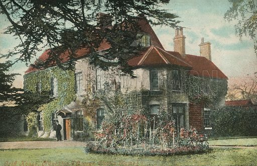 Griff House, Nuneaton, Warwickshire, childhood home of the novelist George Eliot. Postcard, early 20th century.