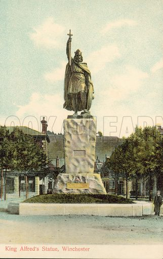 King Alfred's statue, Winchester, Hampshire. Postcard, early 20th century.