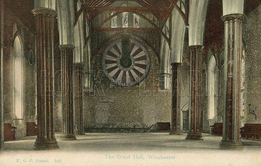 King Arthur's Round Table, Great Hall of Winchester Castle, Hampshire. Postcard, early 20th century.