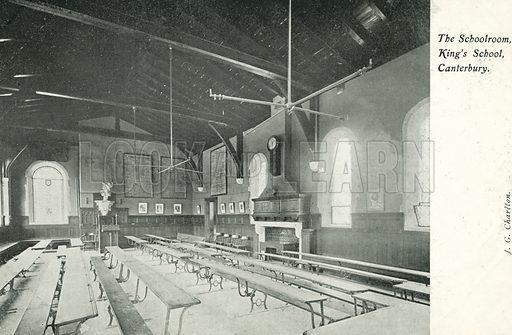 The schoolroom, King's School, Canterbury, Kent. Postcard, early 20th century.