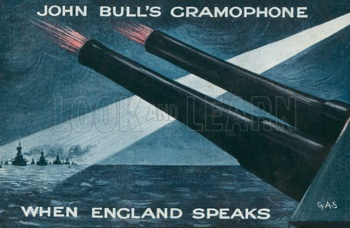 John Bull's gramophone - when England speaks: World War I propaganda postcard. Postcard, early 20th century.