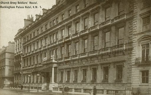 Church Army Soldiers' Hostel, Buckingham Palace Hotel, London. Postcard, early 20th century.