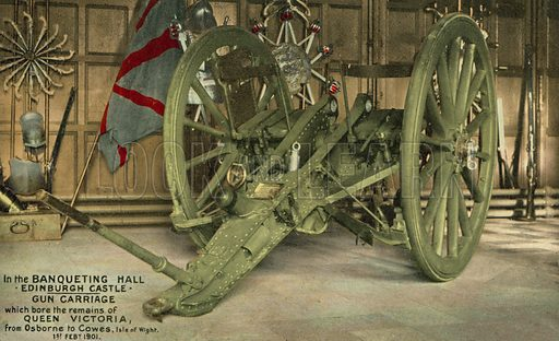Gun carriage which carried the body of Queen Victoria from Osborne House to Cowes, Isle of Wight after her death, on display in the Banqueting Hall, Edinburgh Castle. Postcard, early 20th century.
