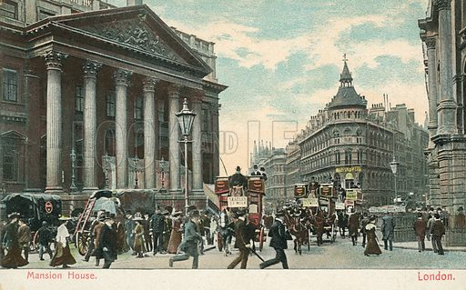 Mansion House, City of London. Postcard, early 20th century.