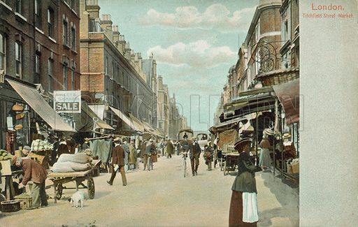 Titchfield Street Market, London. Postcard, early 20th century.