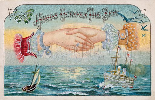 Hands across the sea. Postcard, early 20th century.
