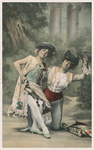 Two dancers. Postcard, early 20th century.