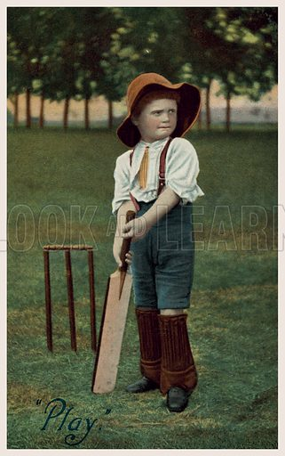 Little boy playing cricket. Postcard, early 20th century.