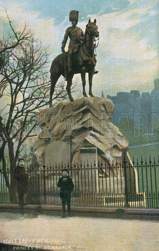 Scots Greys Memorial, Princes Street, Edinburgh. Postcard, early 20th century.