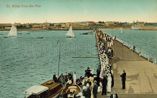 St Kilda from the pier, Melbourne, Victoria, Australia. Postcard, early 20th century.