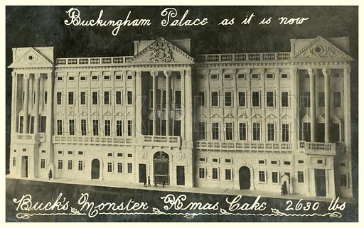 Buckingham Palace Christmas cake. Postcard, early 20th century.