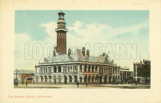 Fire Brigade Station, Melbourne, Victoria, Australia. Postcard, early 20th century.