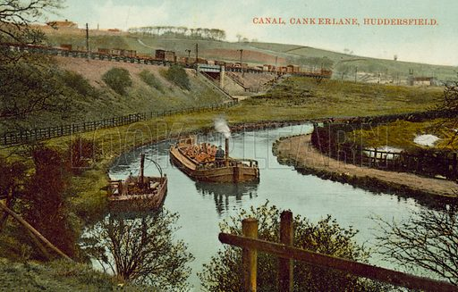 Huddersfield Broad Canal, Canker Lane, Huddersfield, Yorkshire. Postcard, early 20th century.