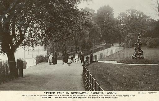 Peter Pan, statue by Sir George Frampton, Kensington Gardens, London. Postcard, early 20th century.