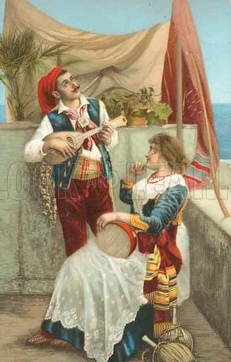 Greek musicians in traditional costume. Postcard, early 20th century.