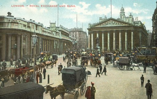 Royal Exchange and Bank of England, City of London. Postcard, early 20th century.