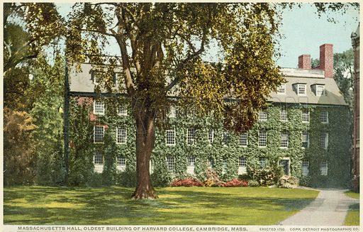 Massachusetts Hall, oldest building of Harvard University, Cambridge, Massachusetts, USA. Postcard, early 20th century.