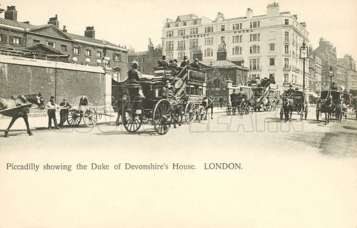 The Duke of Devonshire's house, Piccadilly, London. Postcard, early 20th century.
