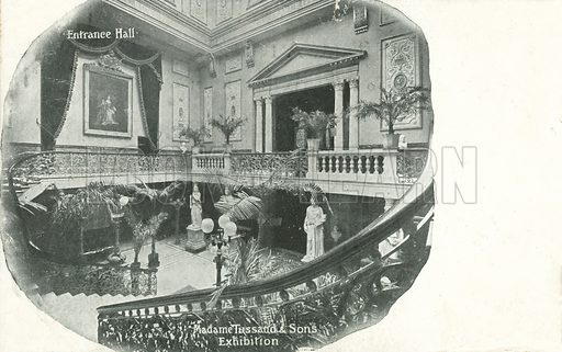 Entrance hall, Madame Tussaud & Sons Exhibition, London. Postcard, early 20th century.