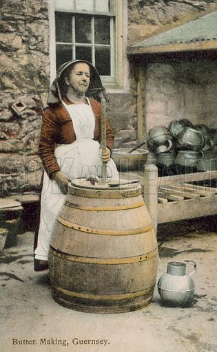 Woman making butter, Guernsey. Postcard, early 20th century.
