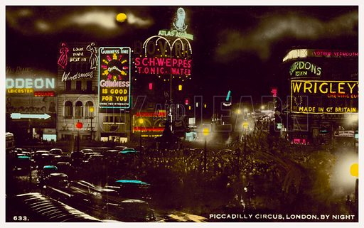 Piccadilly Circus, London, by night. Postcard, early 20th century.