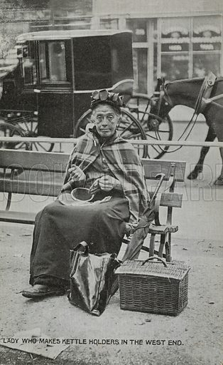 Woman kettle holder maker in the West End, London. Postcard, early 20th century.